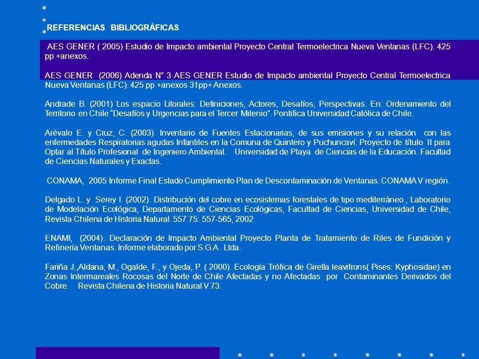 REFERENCIAS BIBLIOGRÁFICAS AES GENER ( 2005) Estudio de Impacto ambiental Proyecto Central Termoelectrica Nueva Ventanas (LFC). 425 pp +anexos. AES GE