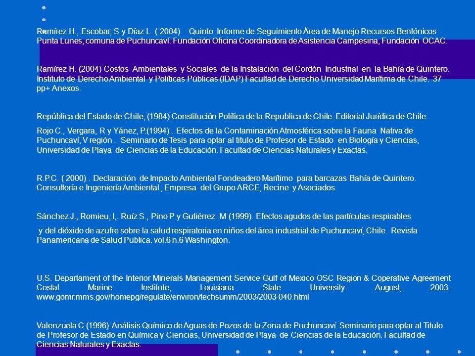 Ramírez H., Escobar, S y Díaz L. ( 2004) Quinto Informe de Seguimiento Área de Manejo Recursos Bentónicos Punta Lunes, comuna de Puchuncaví. Fundación