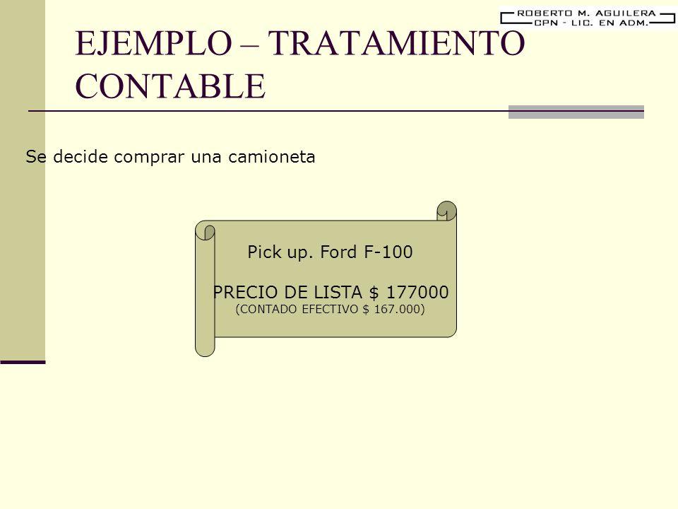 EJEMPLO – TRATAMIENTO CONTABLE Pick up. Ford F-100 PRECIO DE LISTA $ 177000 (CONTADO EFECTIVO $ 167.000) Se decide comprar una camioneta