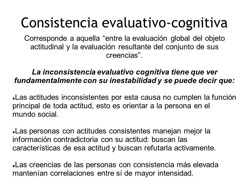 Consistencia evaluativo-cognitiva Corresponde a aquella entre la evaluación global del objeto actitudinal y la evaluación resultante del conjunto de s