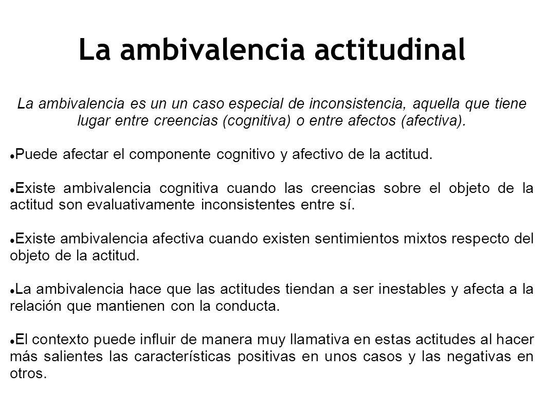 La ambivalencia actitudinal La ambivalencia es un un caso especial de inconsistencia, aquella que tiene lugar entre creencias (cognitiva) o entre afec