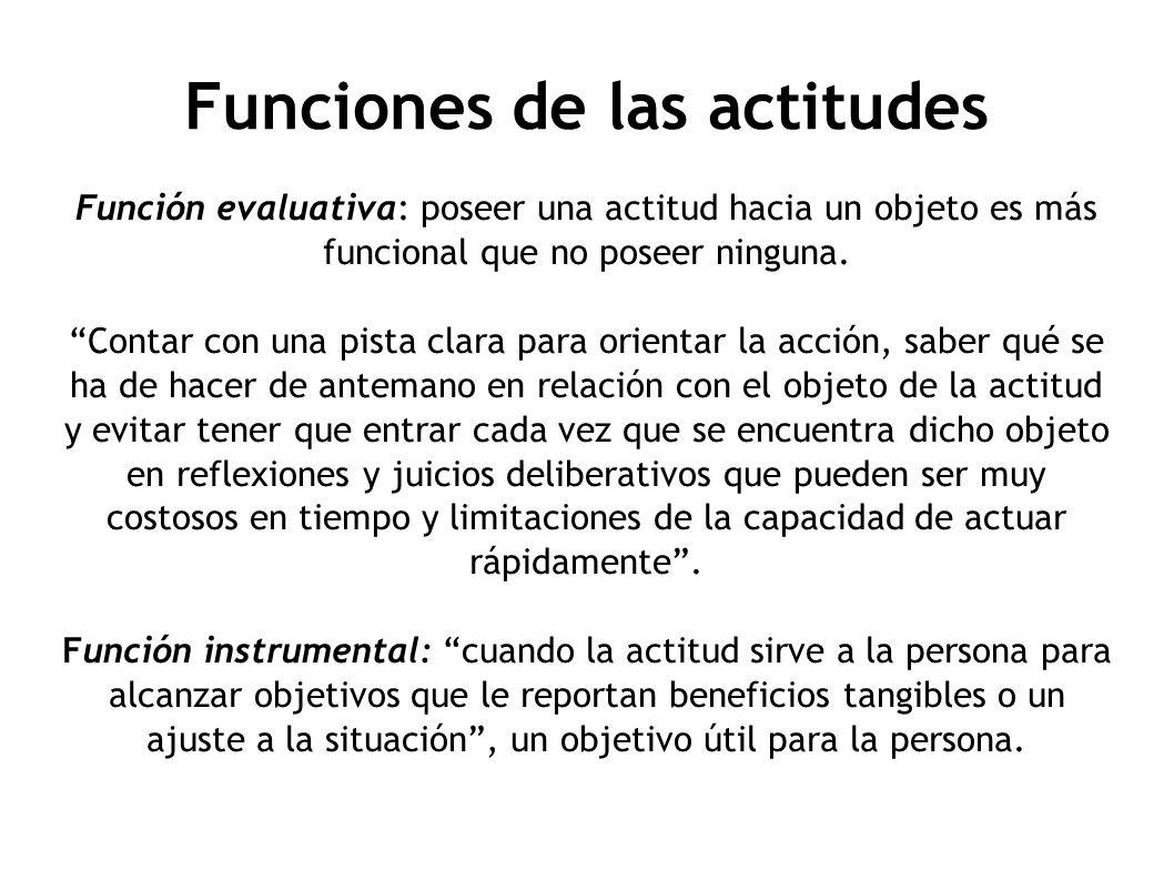 Funciones de las actitudes Función evaluativa: poseer una actitud hacia un objeto es más funcional que no poseer ninguna. Contar con una pista clara p