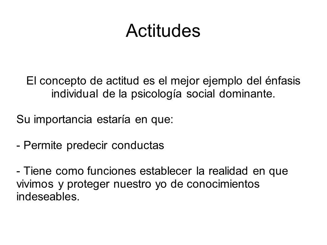 El concepto de actitud es el mejor ejemplo del énfasis individual de la psicología social dominante. Su importancia estaría en que: - Permite predecir