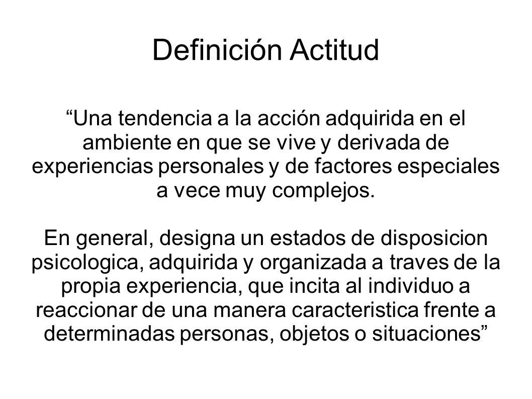 Definición Actitud Una tendencia a la acción adquirida en el ambiente en que se vive y derivada de experiencias personales y de factores especiales a