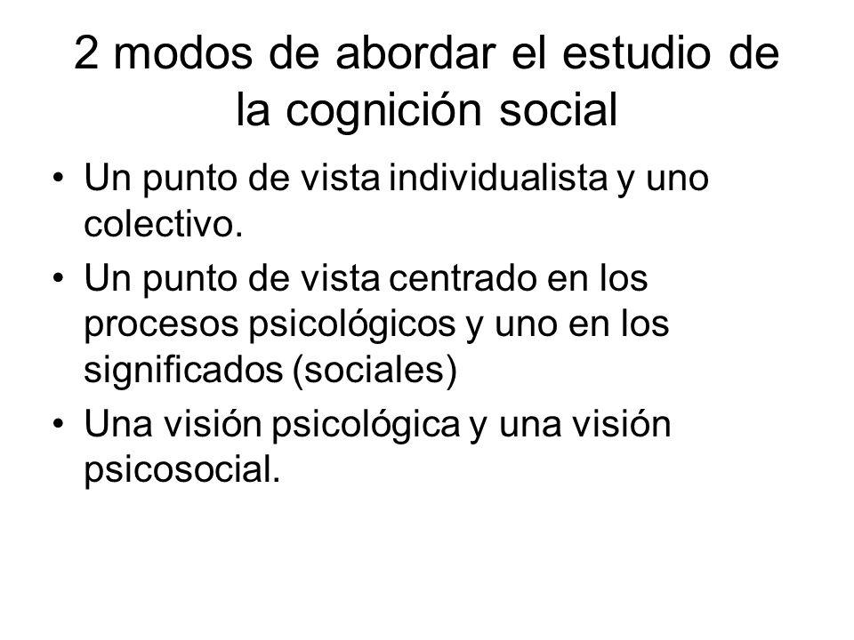 2 modos de abordar el estudio de la cognición social Un punto de vista individualista y uno colectivo. Un punto de vista centrado en los procesos psic