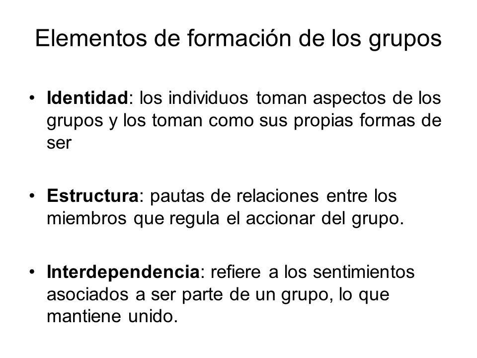 Elementos de formación de los grupos Identidad: los individuos toman aspectos de los grupos y los toman como sus propias formas de ser Estructura: pau