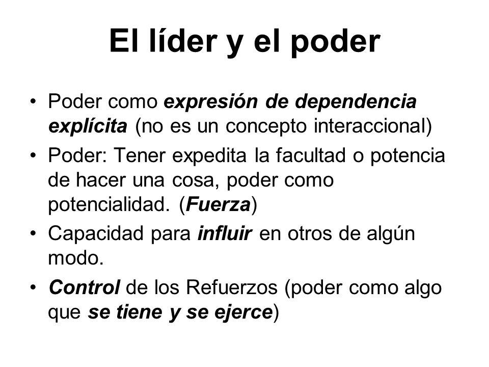 El líder y el poder Poder como expresión de dependencia explícita (no es un concepto interaccional) Poder: Tener expedita la facultad o potencia de ha