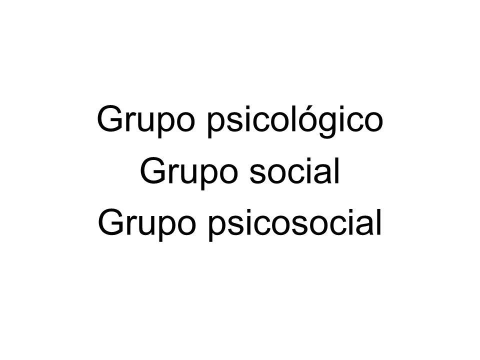 Grupo psicológico Grupo social Grupo psicosocial