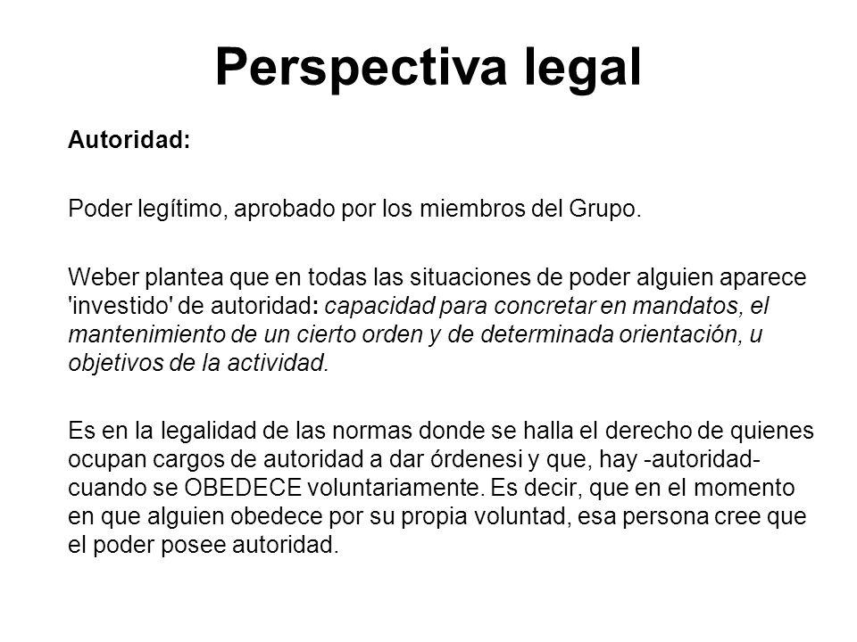 Perspectiva legal Autoridad: Poder legítimo, aprobado por los miembros del Grupo. Weber plantea que en todas las situaciones de poder alguien aparece