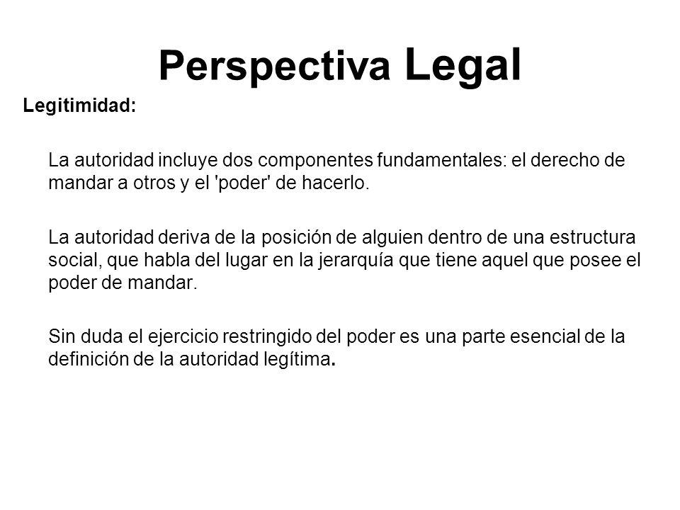 Perspectiva Legal Legitimidad: La autoridad incluye dos componentes fundamentales: el derecho de mandar a otros y el 'poder' de hacerlo. La autoridad