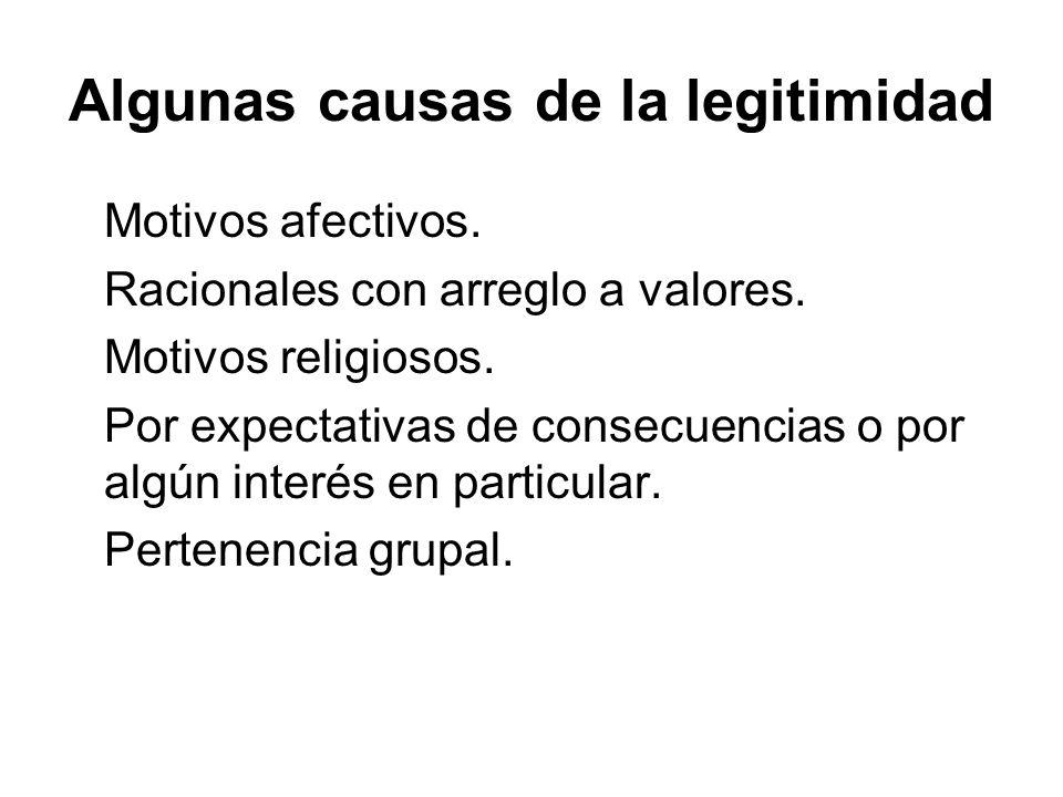 Algunas causas de la legitimidad Motivos afectivos. Racionales con arreglo a valores. Motivos religiosos. Por expectativas de consecuencias o por algú