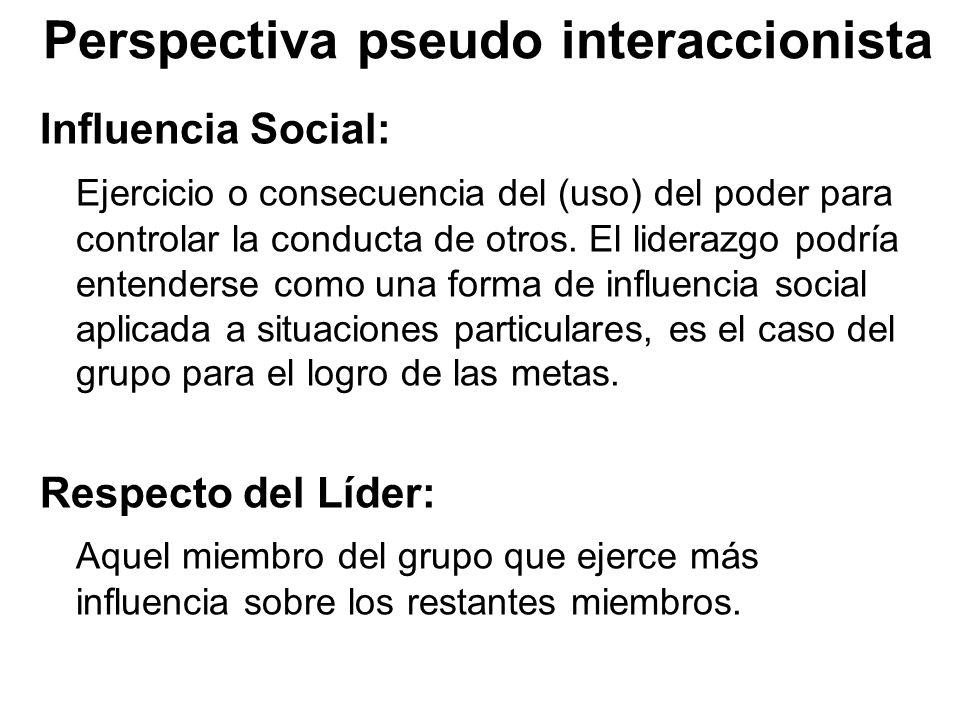 Perspectiva pseudo interaccionista Influencia Social: Ejercicio o consecuencia del (uso) del poder para controlar la conducta de otros. El liderazgo p