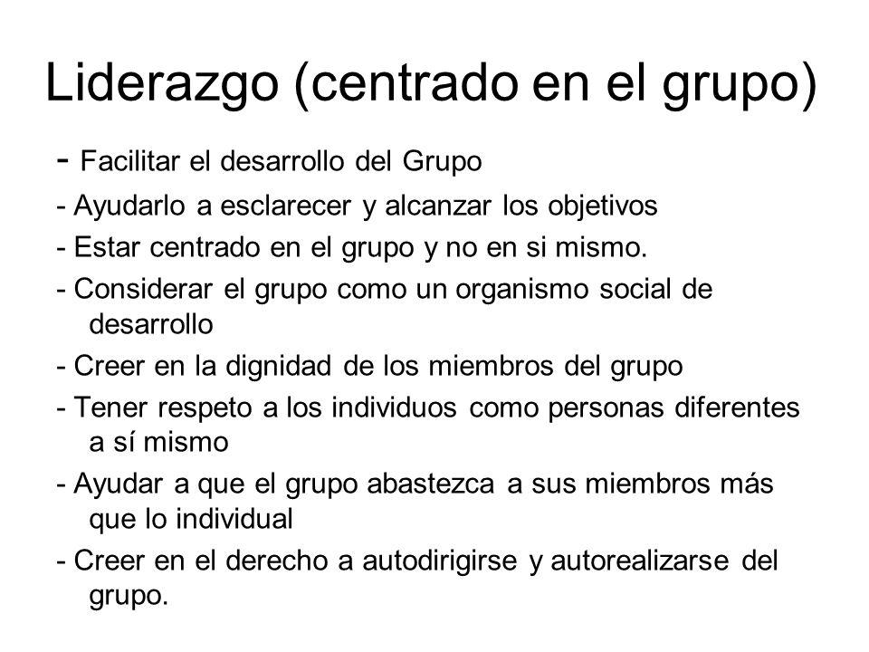 Liderazgo (centrado en el grupo) - Facilitar el desarrollo del Grupo - Ayudarlo a esclarecer y alcanzar los objetivos - Estar centrado en el grupo y n