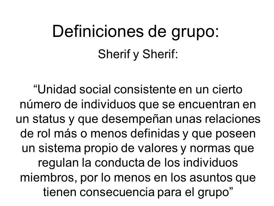 Definiciones de grupo: Sherif y Sherif: Unidad social consistente en un cierto número de individuos que se encuentran en un status y que desempeñan unas relaciones de rol más o menos definidas y que poseen un sistema propio de valores y normas que regulan la conducta de los individuos miembros, por lo menos en los asuntos que tienen consecuencia para el grupo