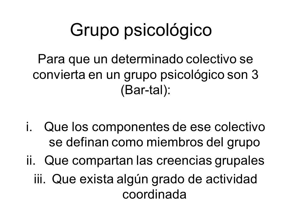 Grupo psicológico Lo central es que los diferentes individuos compartan la creencia somos un grupo (Turner): i.Componente cognitivo: conocimiento de pertenecer a un grupo.