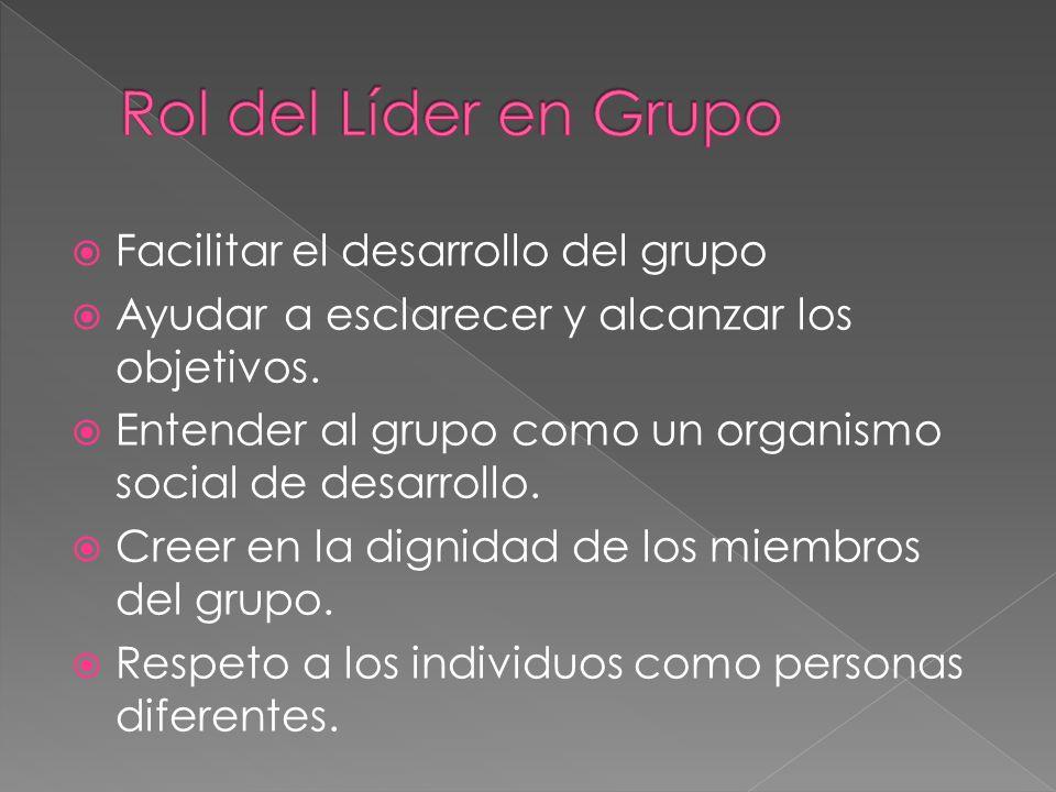 Facilitar el desarrollo del grupo Ayudar a esclarecer y alcanzar los objetivos. Entender al grupo como un organismo social de desarrollo. Creer en la