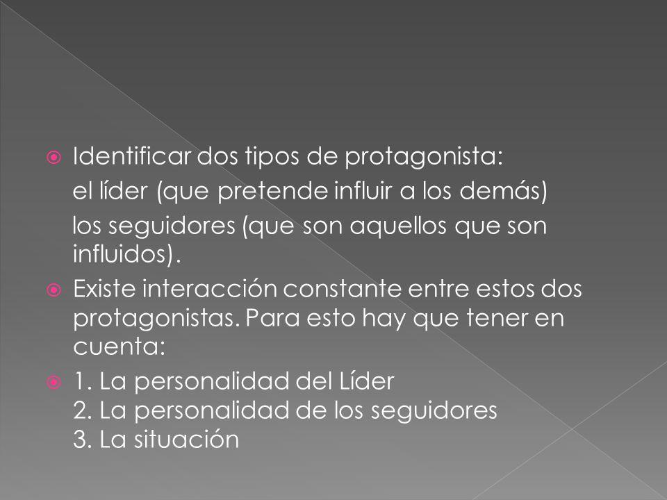 Identificar dos tipos de protagonista: el líder (que pretende influir a los demás) los seguidores (que son aquellos que son influidos).