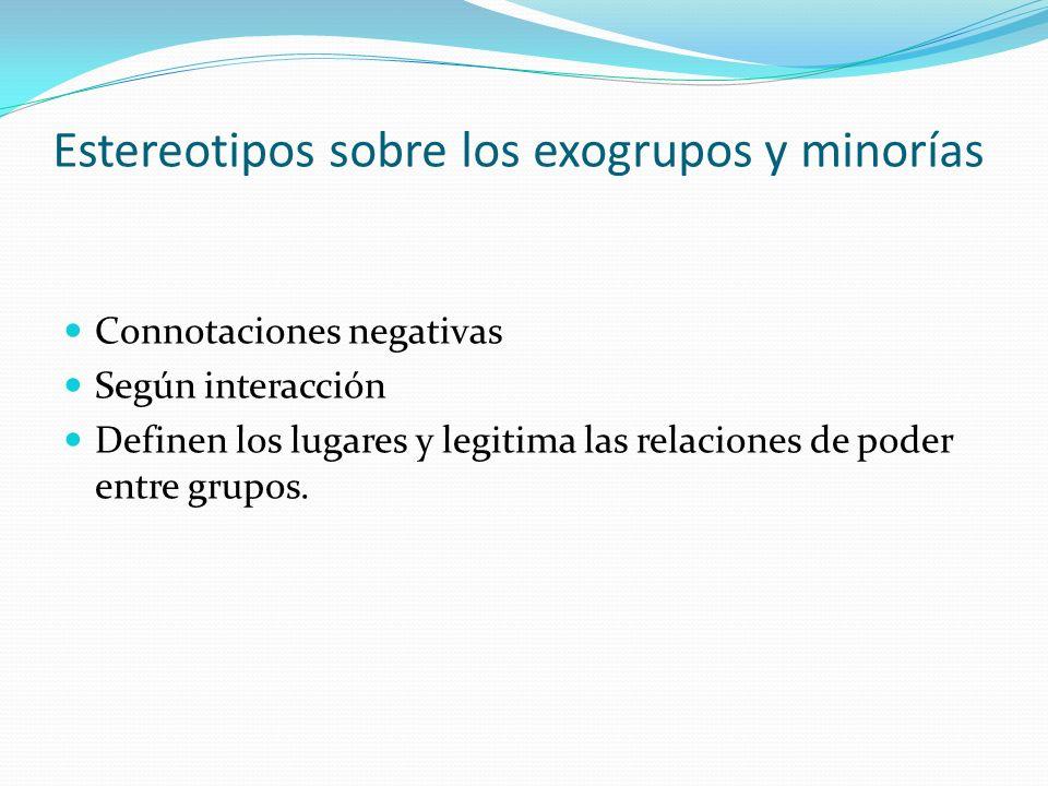 Estereotipos sobre los exogrupos y minorías Connotaciones negativas Según interacción Definen los lugares y legitima las relaciones de poder entre gru