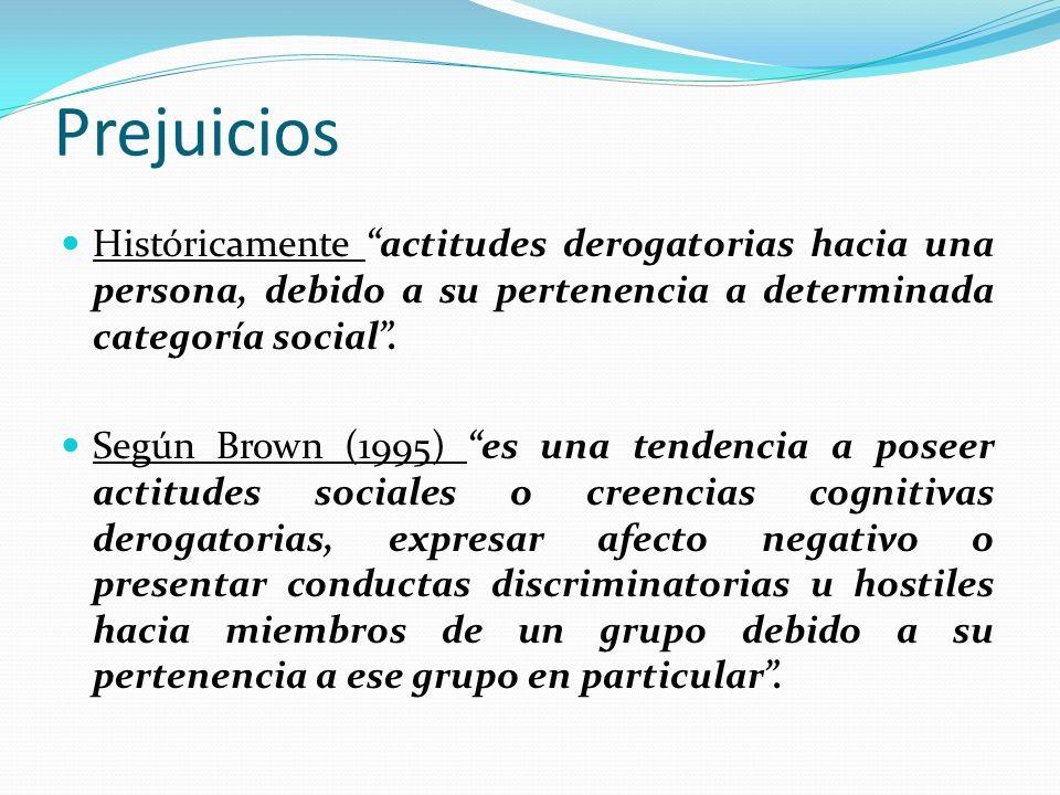 Prejuicios Históricamente actitudes derogatorias hacia una persona, debido a su pertenencia a determinada categoría social. Según Brown (1995) es una