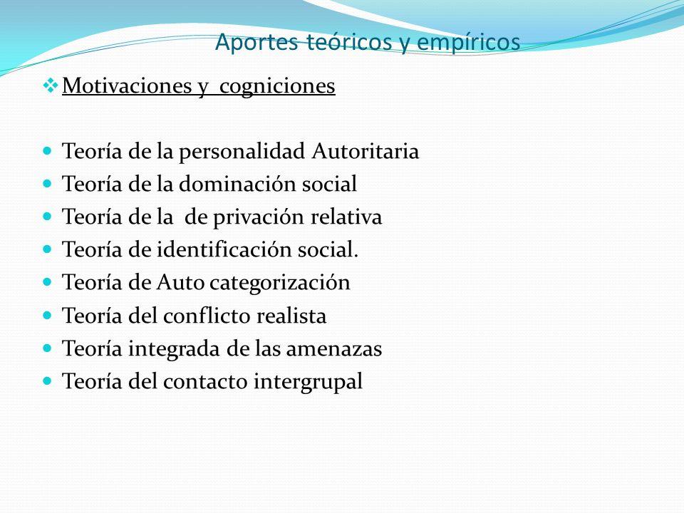 Aportes teóricos y empíricos Motivaciones y cogniciones Teoría de la personalidad Autoritaria Teoría de la dominación social Teoría de la de privación