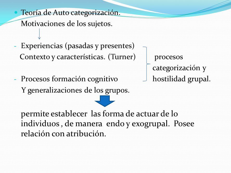 Teoría de Auto categorización. Motivaciones de los sujetos. - Experiencias (pasadas y presentes) Contexto y características. (Turner) procesos categor