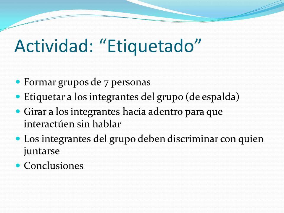 Actividad: Etiquetado Formar grupos de 7 personas Etiquetar a los integrantes del grupo (de espalda) Girar a los integrantes hacia adentro para que in