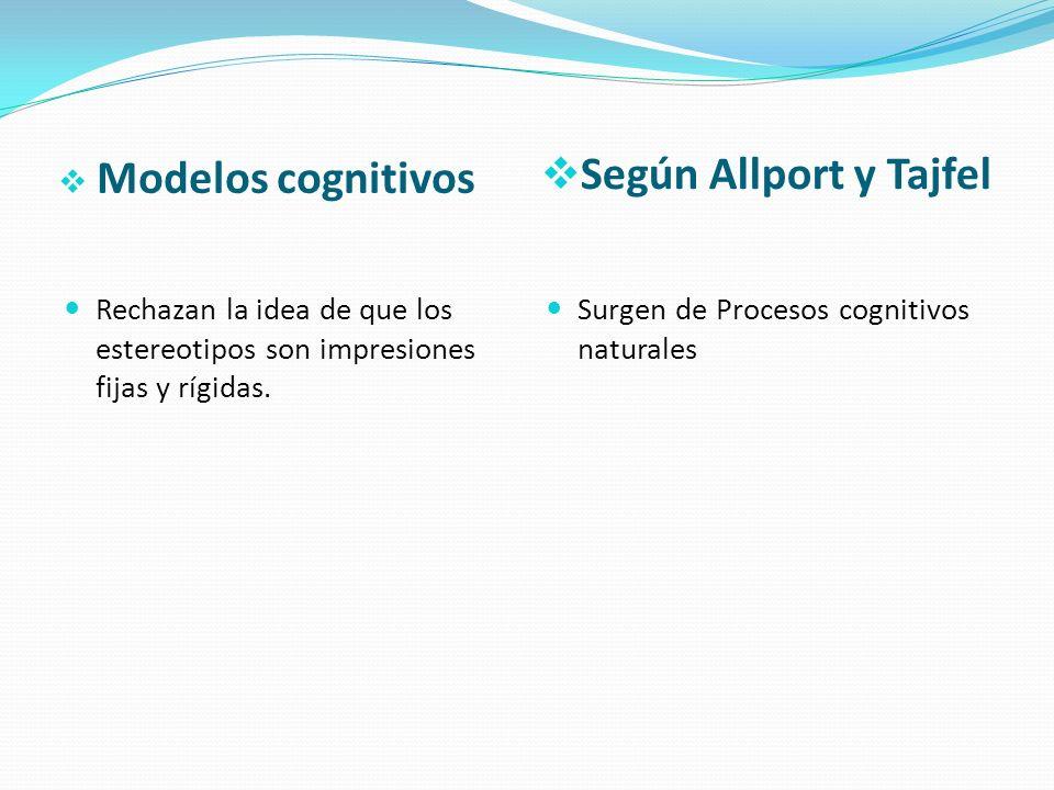 Modelos cognitivos Según Allport y Tajfel Rechazan la idea de que los estereotipos son impresiones fijas y rígidas. Surgen de Procesos cognitivos natu