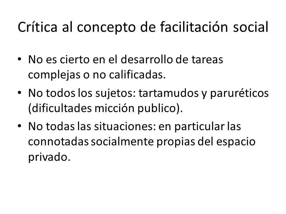 Crítica al concepto de facilitación social No es cierto en el desarrollo de tareas complejas o no calificadas. No todos los sujetos: tartamudos y paru