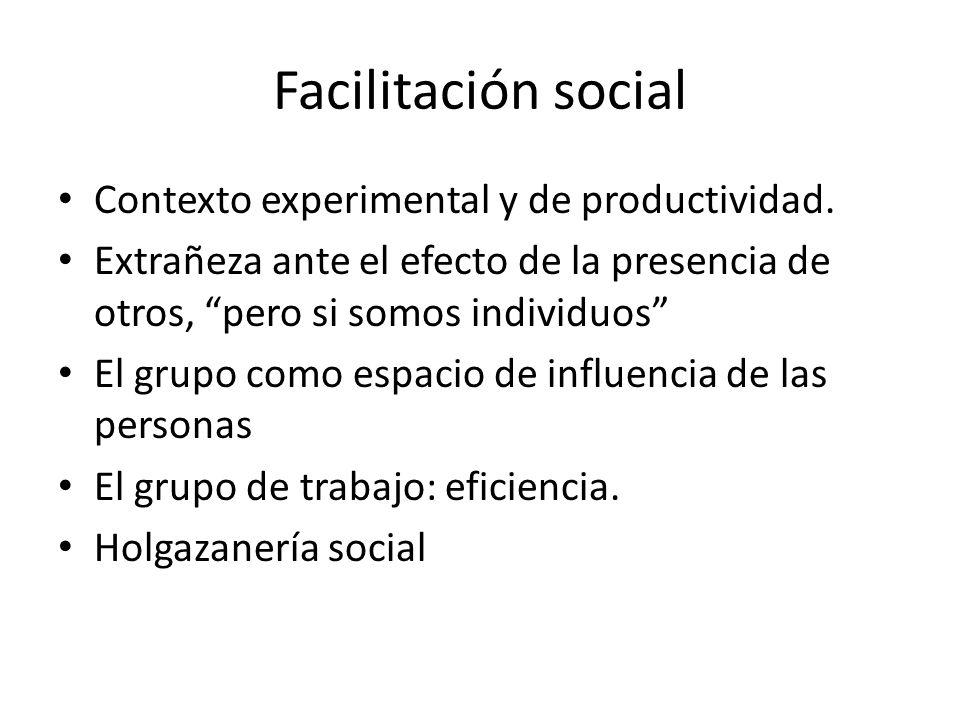 Facilitación social Contexto experimental y de productividad. Extrañeza ante el efecto de la presencia de otros, pero si somos individuos El grupo com