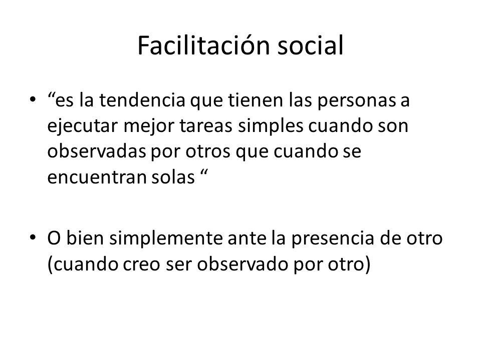 Facilitación social es la tendencia que tienen las personas a ejecutar mejor tareas simples cuando son observadas por otros que cuando se encuentran s