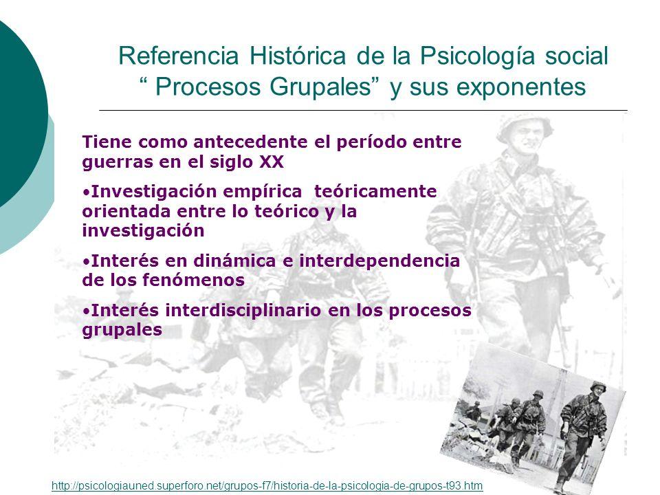 Referencia Histórica de la Psicología social Procesos Grupales y sus exponentes Tiene como antecedente el período entre guerras en el siglo XX Investi