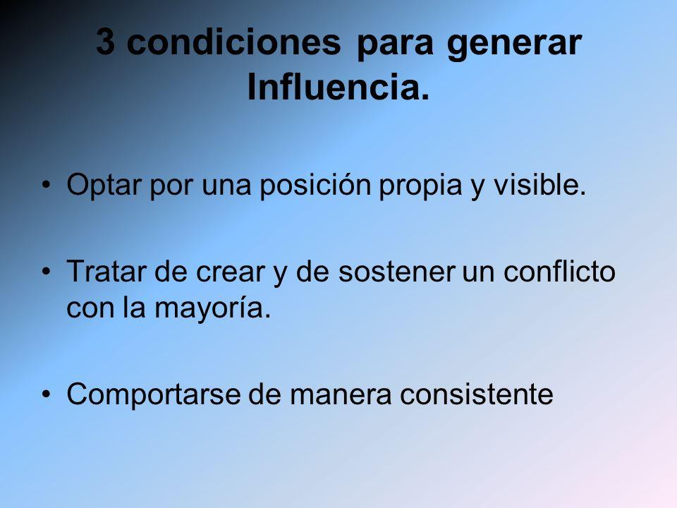 3 condiciones para generar Influencia. Optar por una posición propia y visible. Tratar de crear y de sostener un conflicto con la mayoría. Comportarse