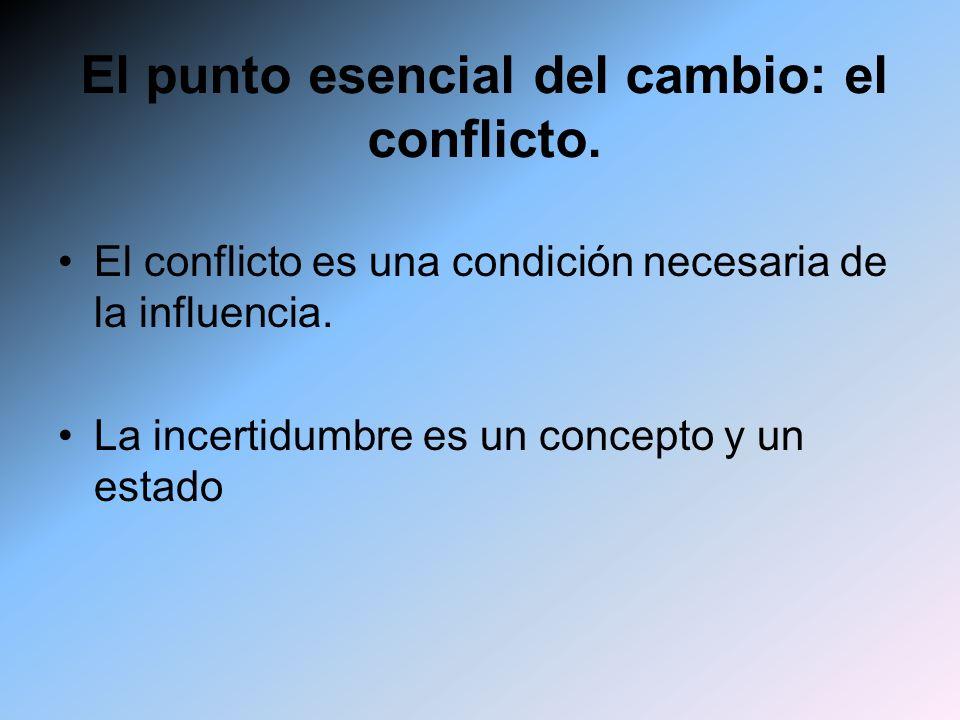 El punto esencial del cambio: el conflicto. El conflicto es una condición necesaria de la influencia. La incertidumbre es un concepto y un estado