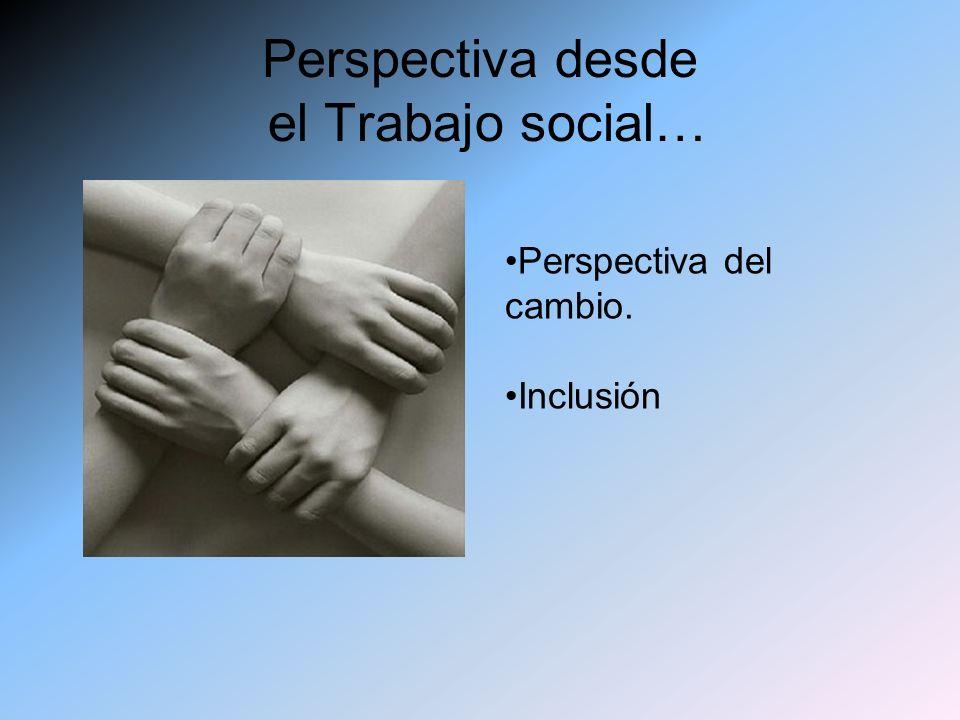 Perspectiva desde el Trabajo social… Perspectiva del cambio. Inclusión