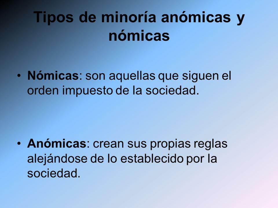Tipos de minoría anómicas y nómicas Nómicas: son aquellas que siguen el orden impuesto de la sociedad. Anómicas: crean sus propias reglas alejándose d