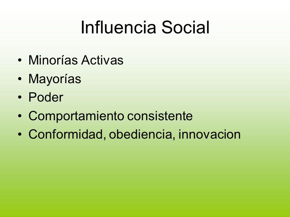 Influencia Social Minorías Activas Mayorías Poder Comportamiento consistente Conformidad, obediencia, innovacion