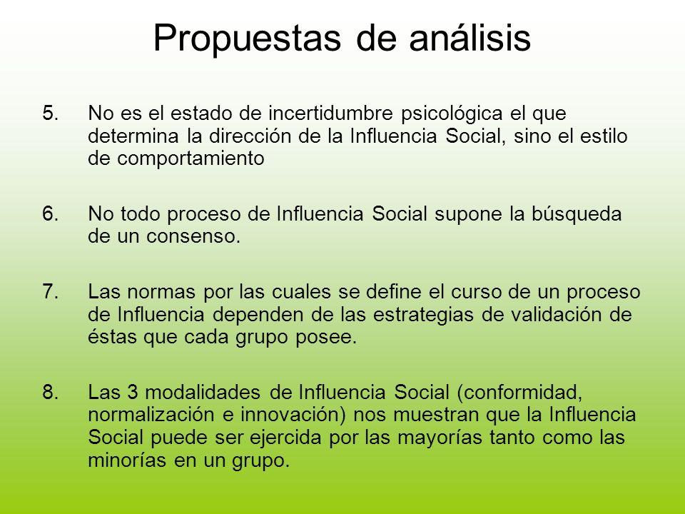 Propuestas de análisis 5.No es el estado de incertidumbre psicológica el que determina la dirección de la Influencia Social, sino el estilo de comport
