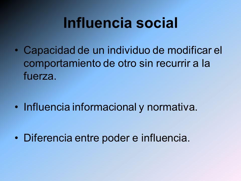 Influencia social Capacidad de un individuo de modificar el comportamiento de otro sin recurrir a la fuerza. Influencia informacional y normativa. Dif