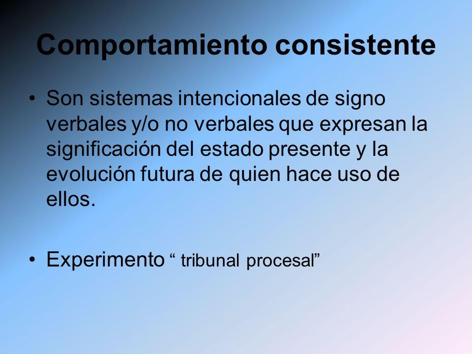 Comportamiento consistente Son sistemas intencionales de signo verbales y/o no verbales que expresan la significación del estado presente y la evoluci