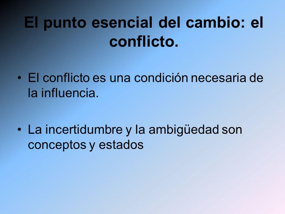 El punto esencial del cambio: el conflicto. El conflicto es una condición necesaria de la influencia. La incertidumbre y la ambigüedad son conceptos y