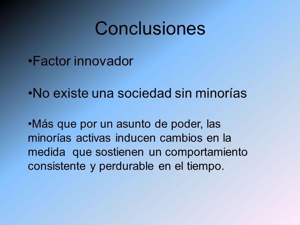 Conclusiones Factor innovador No existe una sociedad sin minorías Más que por un asunto de poder, las minorías activas inducen cambios en la medida qu
