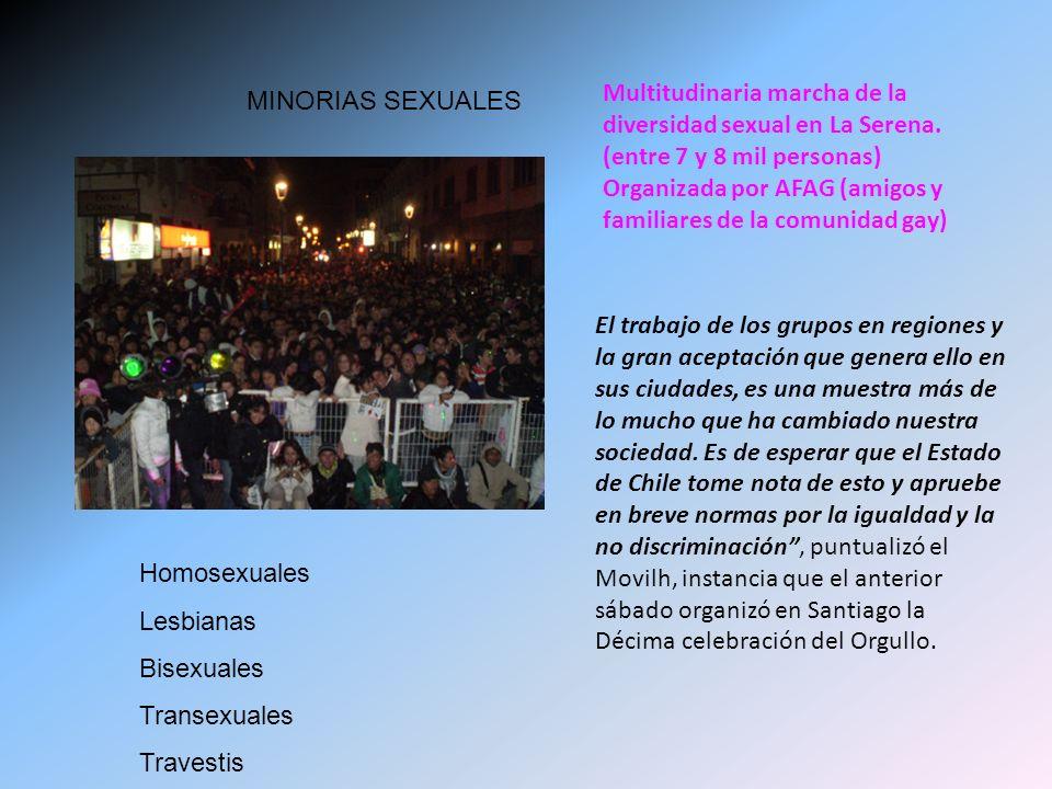 Multitudinaria marcha de la diversidad sexual en La Serena. (entre 7 y 8 mil personas) Organizada por AFAG (amigos y familiares de la comunidad gay) E