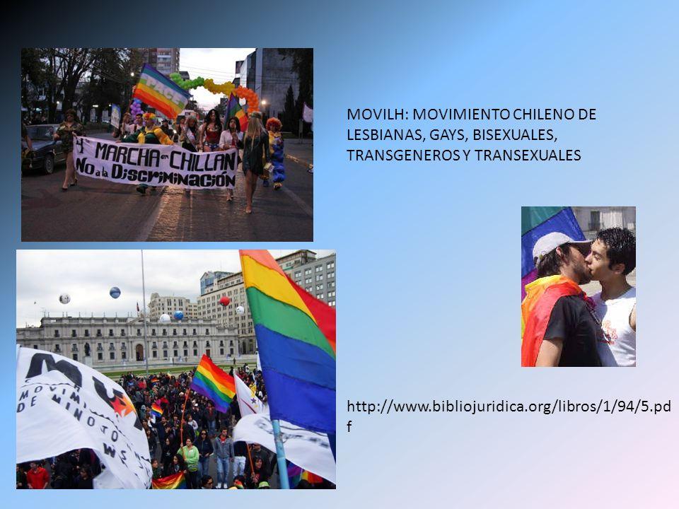 MOVILH: MOVIMIENTO CHILENO DE LESBIANAS, GAYS, BISEXUALES, TRANSGENEROS Y TRANSEXUALES http://www.bibliojuridica.org/libros/1/94/5.pd f