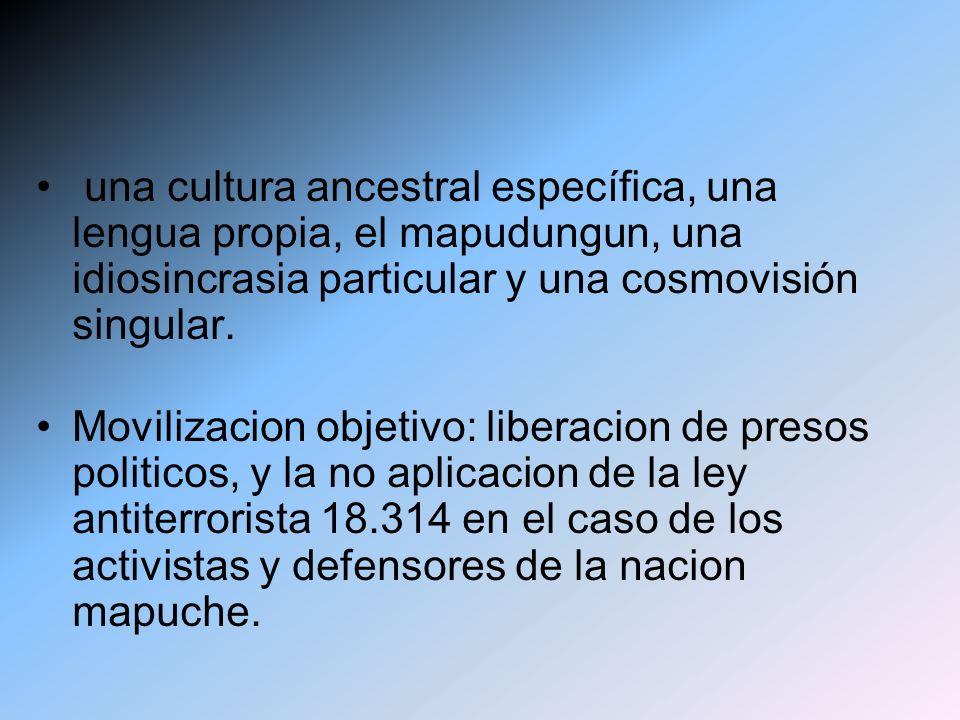 una cultura ancestral específica, una lengua propia, el mapudungun, una idiosincrasia particular y una cosmovisión singular. Movilizacion objetivo: li