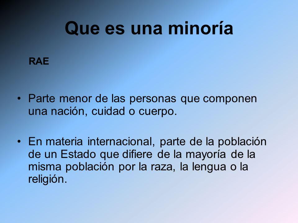 Que es una minoría Parte menor de las personas que componen una nación, cuidad o cuerpo. En materia internacional, parte de la población de un Estado