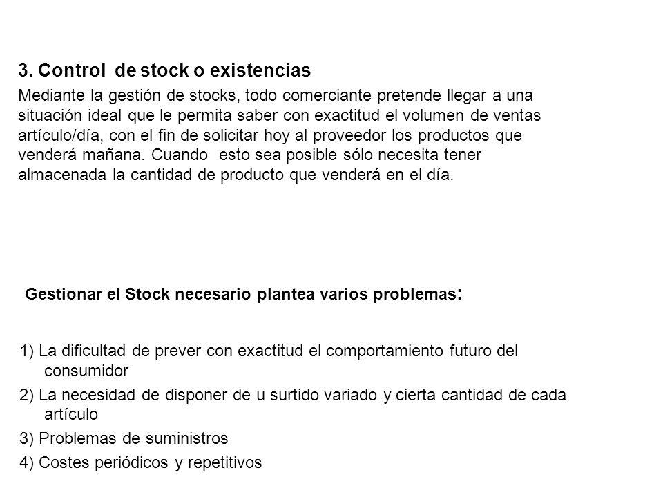 B) Según la finalidad que persigue la empresa. 1) Stock activo, normal o de ciclo 2) Stock de seguridad 3) Stock óptimo 4) Stock cero 5) Stock estacio