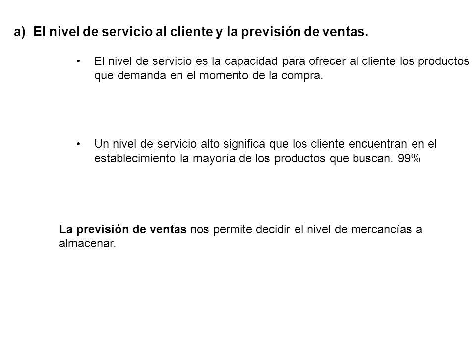 a) El nivel de servicio al cliente y la previsión de ventas.