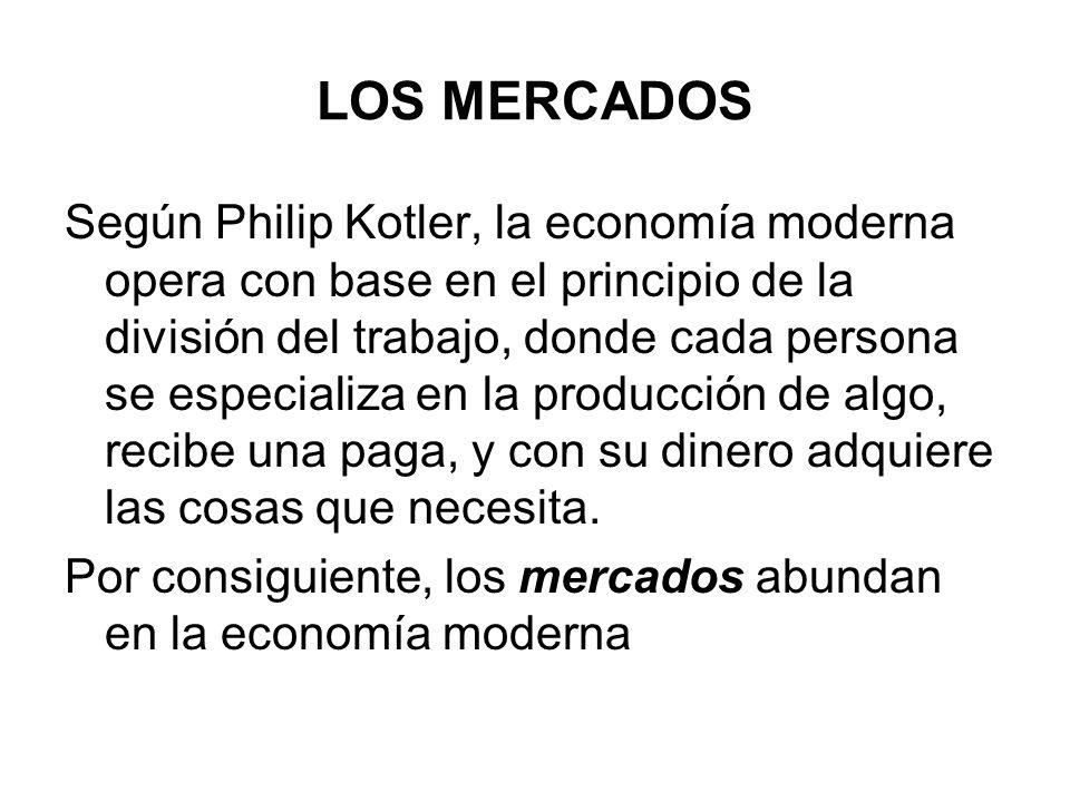Según Philip Kotler, la economía moderna opera con base en el principio de la división del trabajo, donde cada persona se especializa en la producción