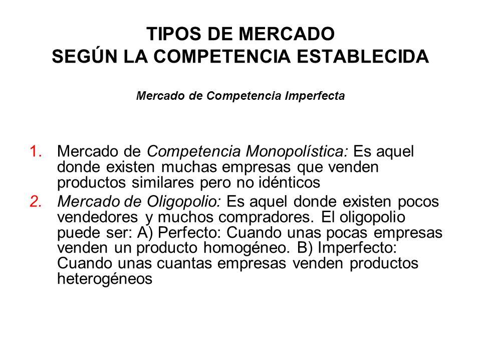 TIPOS DE MERCADO SEGÚN LA COMPETENCIA ESTABLECIDA 1.Mercado de Competencia Monopolística: Es aquel donde existen muchas empresas que venden productos