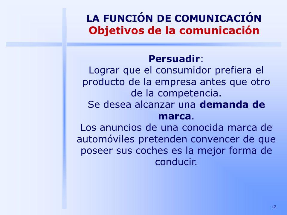12 LA FUNCIÓN DE COMUNICACIÓN Objetivos de la comunicación Persuadir: Lograr que el consumidor prefiera el producto de la empresa antes que otro de la